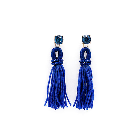 Dark Blue Knotted Tassel Earrings