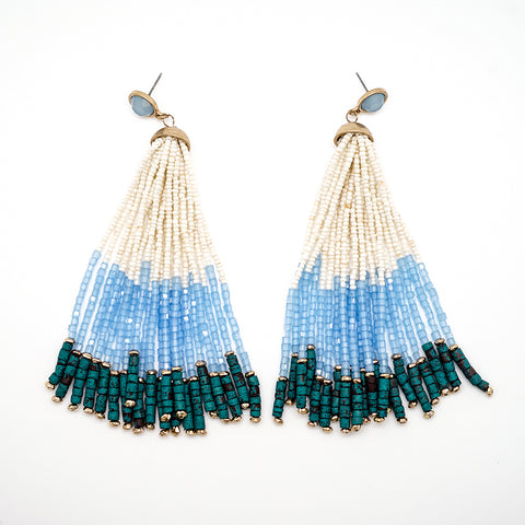 Blue, White and Green Beaded Tassel Earrings