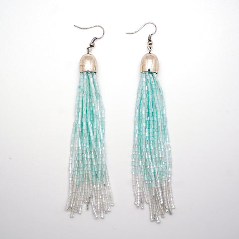 Seafoam Green Ombre Tassel Earrings