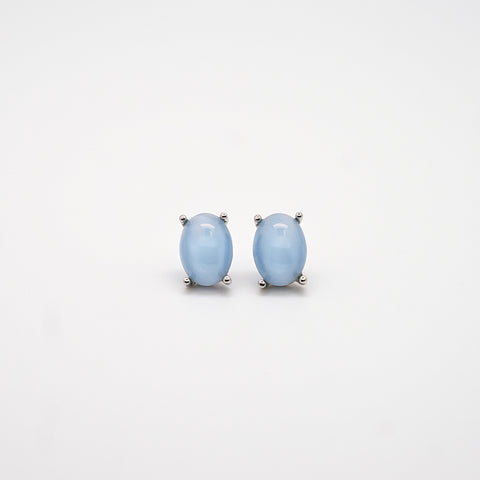 Light Blue Oval Stud Earrings