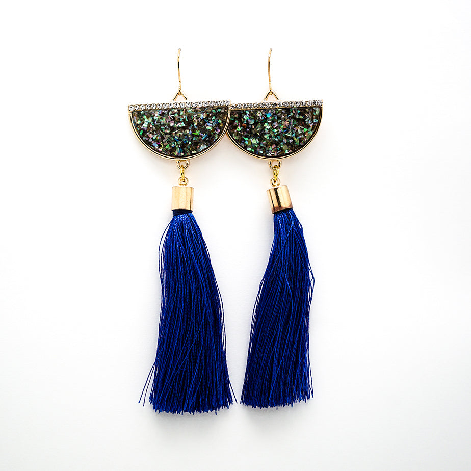 Glamorous Gold and Dark Blue Tassel Earrings