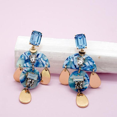 Blue and Gold Geometric Drop Earrings
