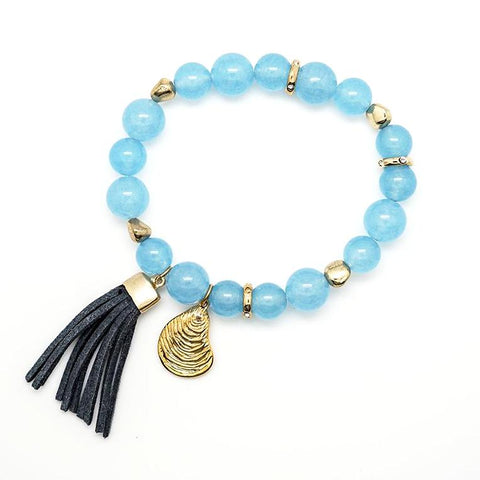 Light Blue Beaded Seashell Stretch Tassel Bracelet
