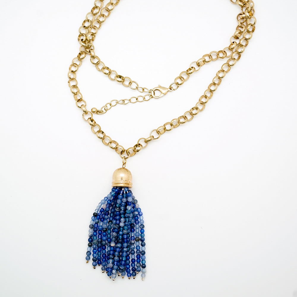 Blue Tassel and Gold Chain Necklace - 36 Inches