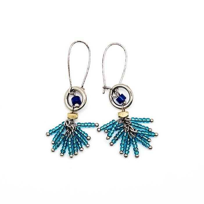 Tiny Blue Beaded Drop Earrings