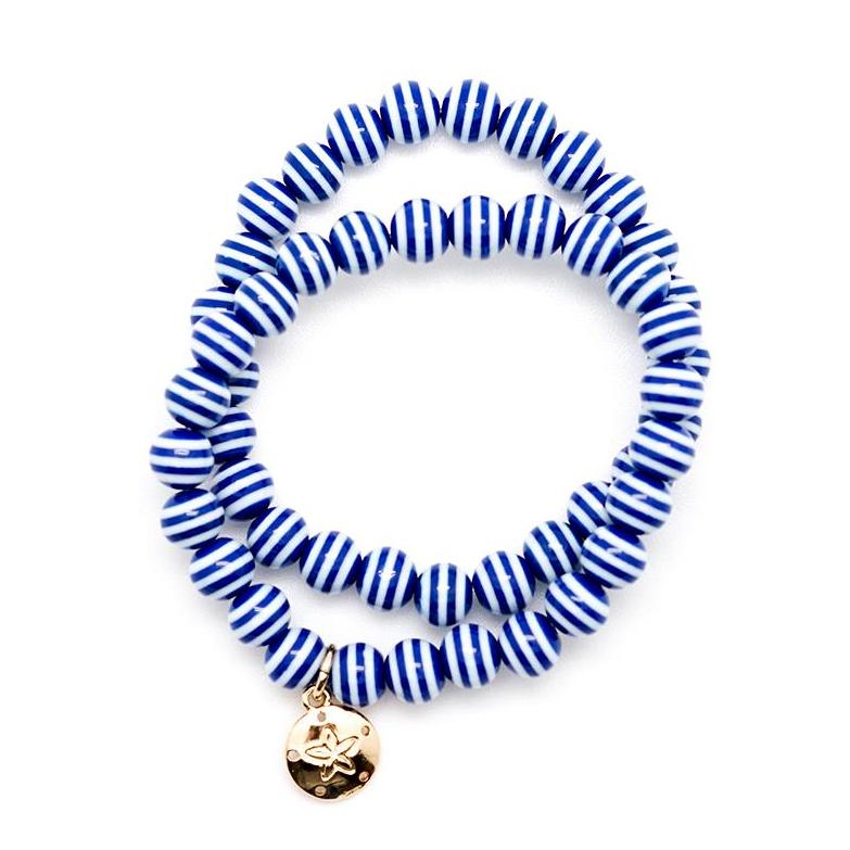 Double Wrap Blue and White Beaded Stretch Bracelet