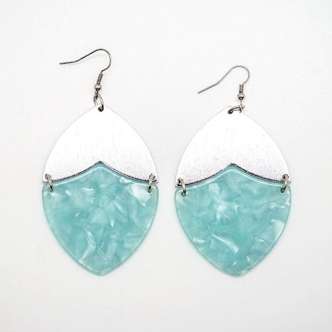 Blue Marbled Lucite and Silver Oval Drop Earrings