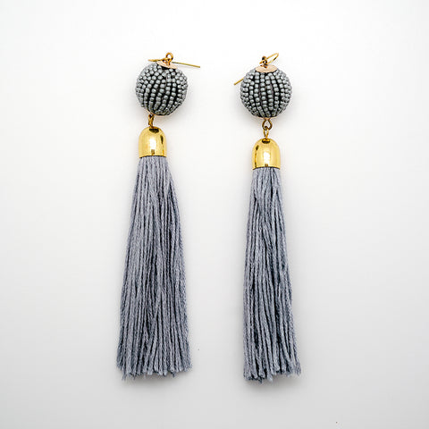 Gray Beaded Disco Ball Tassel Earrings