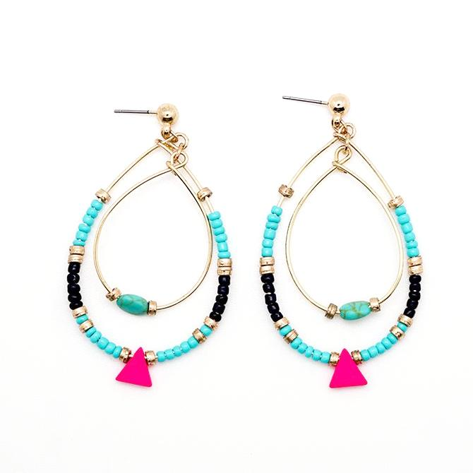 Blue, Gold and Neon Pink Beaded Drop Earrings