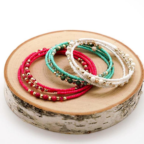 Colorful Beaded Wrap Bracelets - Set of 3