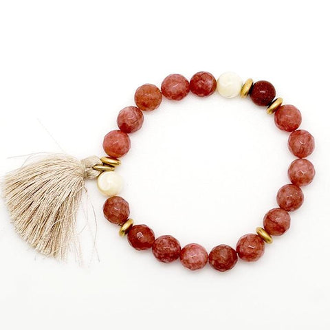 Red, Gold and White Beaded Tassel Bracelet