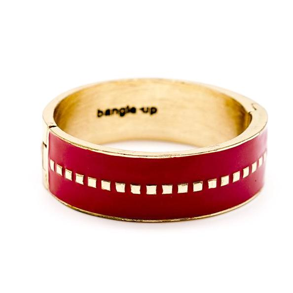 Red Enamel and Gold Hinged Bracelet