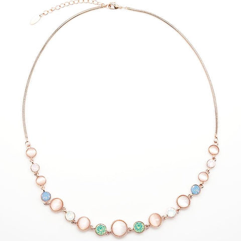 Pink, White and Seafoam Green Stone Chain Necklace - 22 Inches