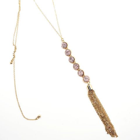Druzy Drop Gold Tassel Pendant - 24 Inches