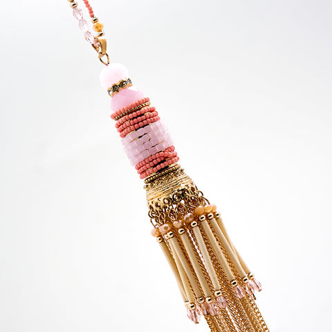 Pink and Red Beaded Tassel Pendant - 36 Inches
