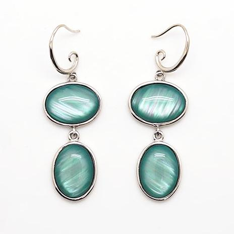 Blue-Green Oval Stone Drop Earrings