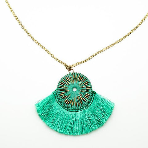 Green Tassel Pendant - 20 Inches