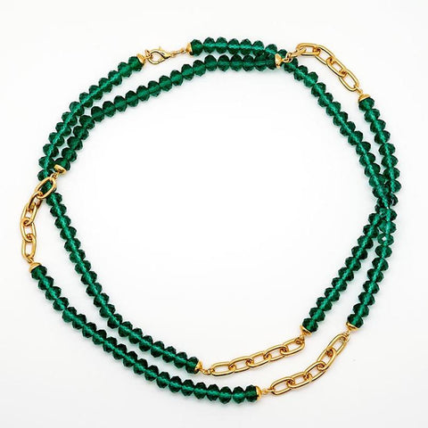 Green Bead and Gold Chain Necklace - 36 Inches