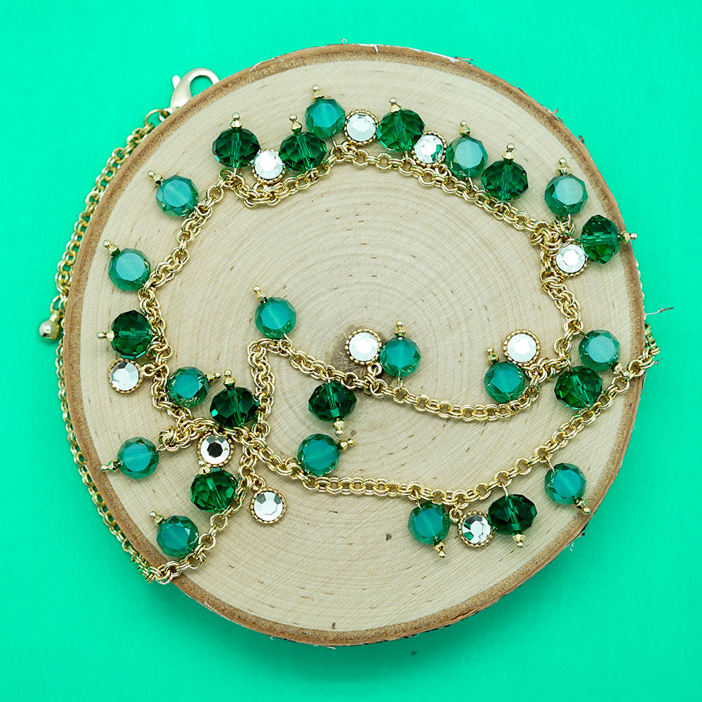 Green Bead and Rhinestone Necklace - 20 inches