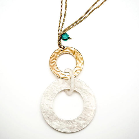 Gold and Mother of Pearl Retro Circle Pendant - 20 Inches