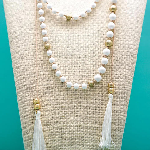 White Beaded Tassel Necklace - 36 Inches