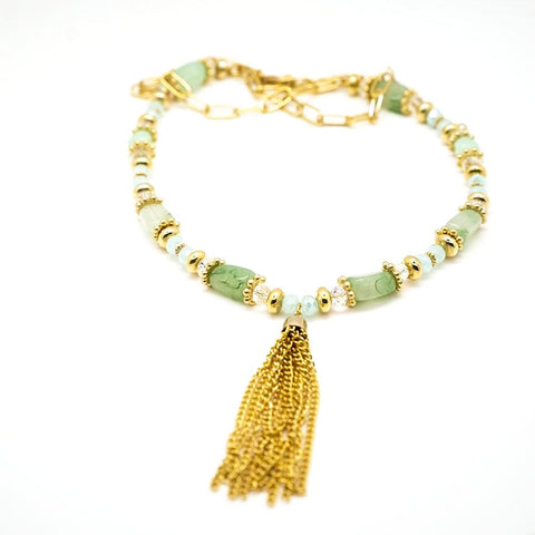 Green, White and Gold Tassel Necklace - 20 Inches