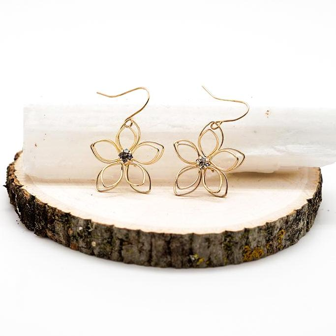 Gold Filled Wire Flower Drop Earrings