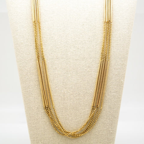 Gold Textured Chain Necklace - 36 Inches