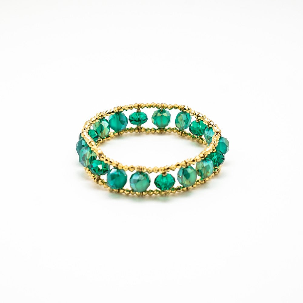 Green and Gold Bead Stretch Bracelet