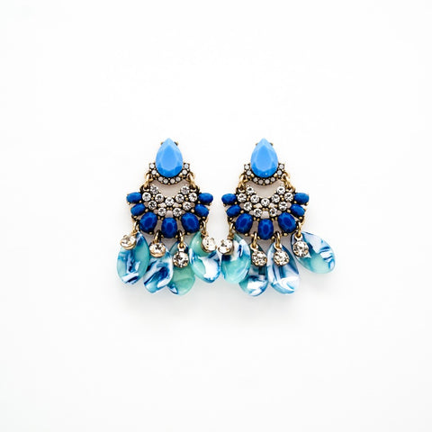 Blue and White Rhinestone Drop Earrings