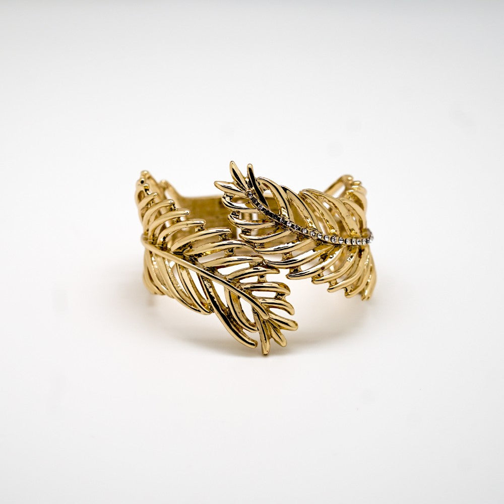 Gold Feather Hinged Bracelet