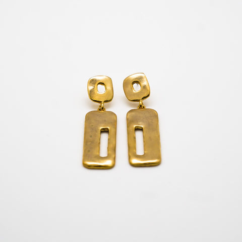 Klimt Inspired Gold Drop Earrings