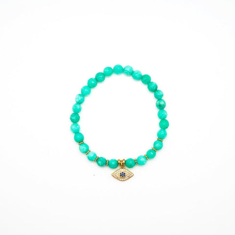 Green Evil Eye Stretch Bracelet