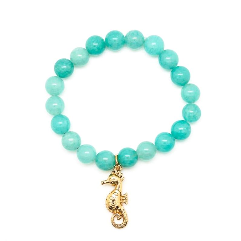 Green Stretch Bracelet with Seahorse Charm