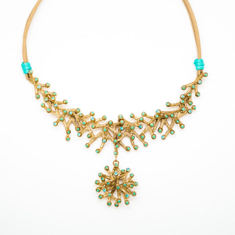 Gold and Turquoise Seaweed Necklace