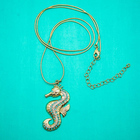 Gold Seahorse Pendant with Turquoise Accents - 18 Inches
