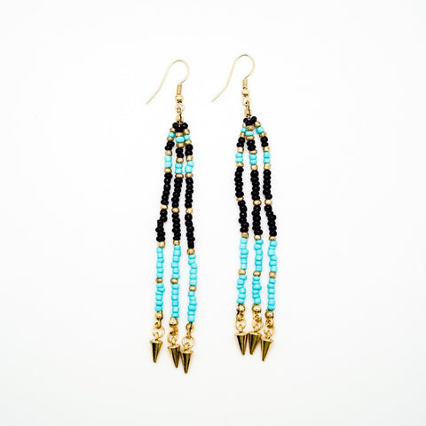 Turquoise, Black and Gold Beaded Tassel Earrings
