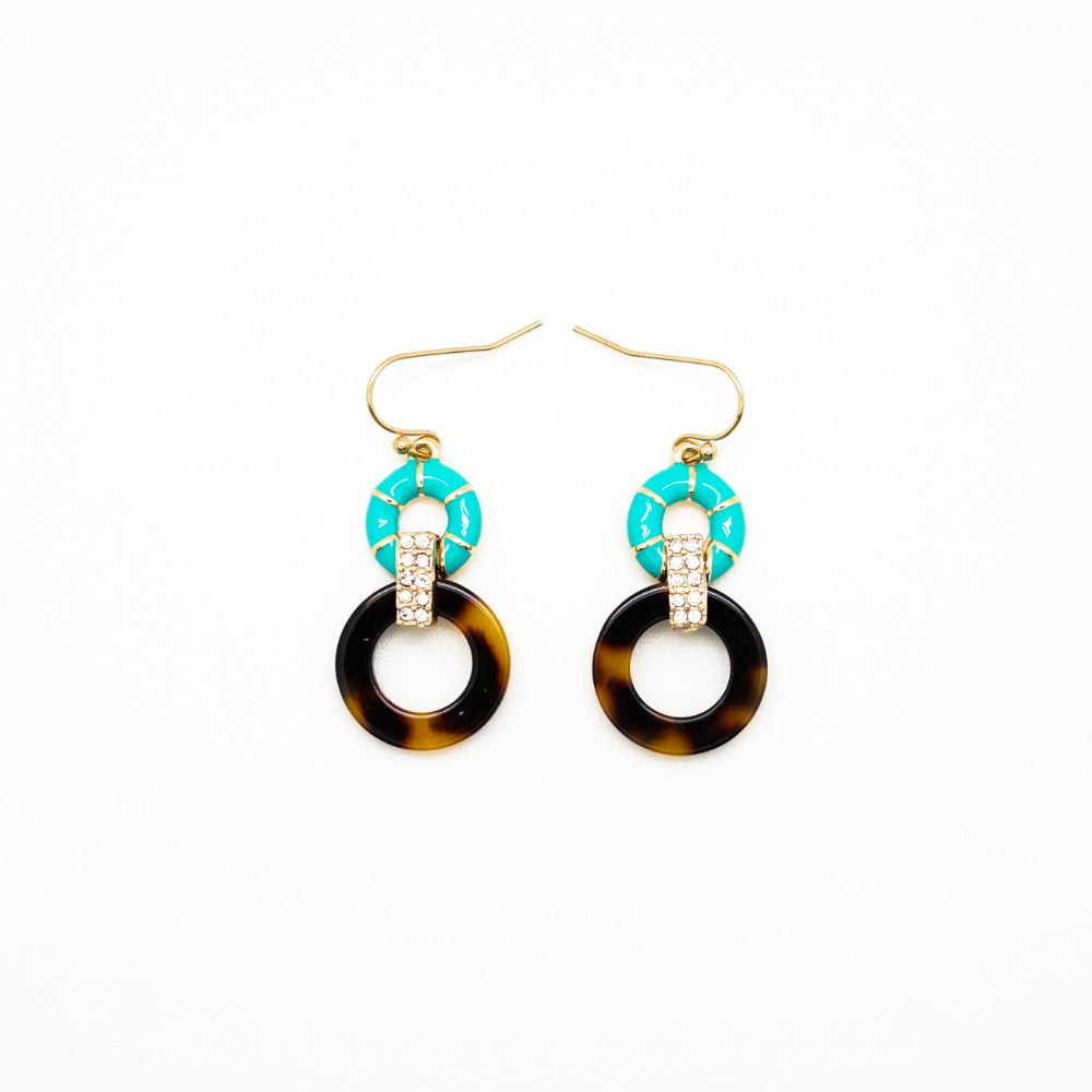 Turquoise, Turtleshell and Rhinestone Circle Drop Earrings