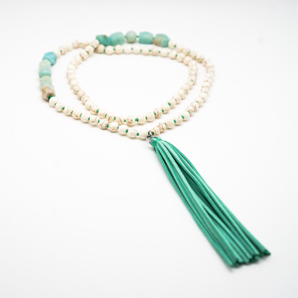 White Beaded Necklace with Green Tassel