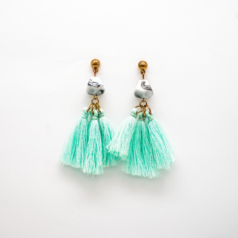 Turquoise Tassel Earrings with Marbled Bead Stud