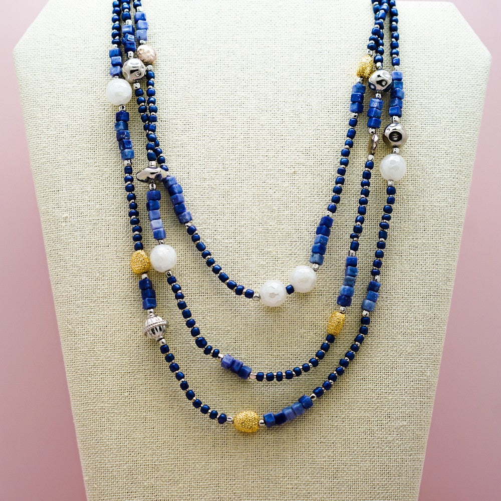 Arts and Crafts Inspired Blue, Gold and Pearl Bead Necklace