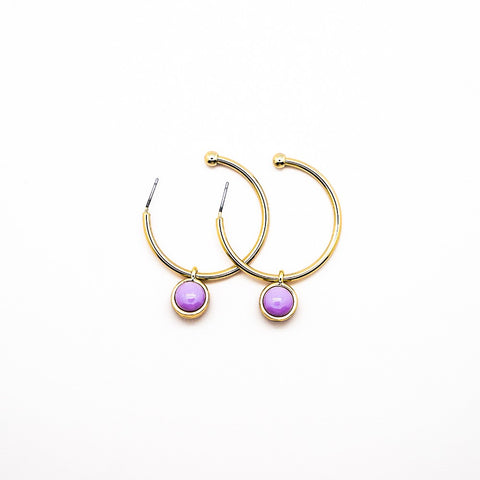 Gold Hoops with Purple Stone Accent
