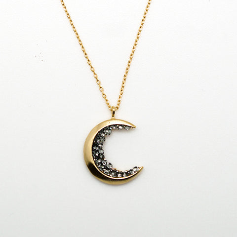 Gold and Black Crystal Moon Pendant - 16 Inches