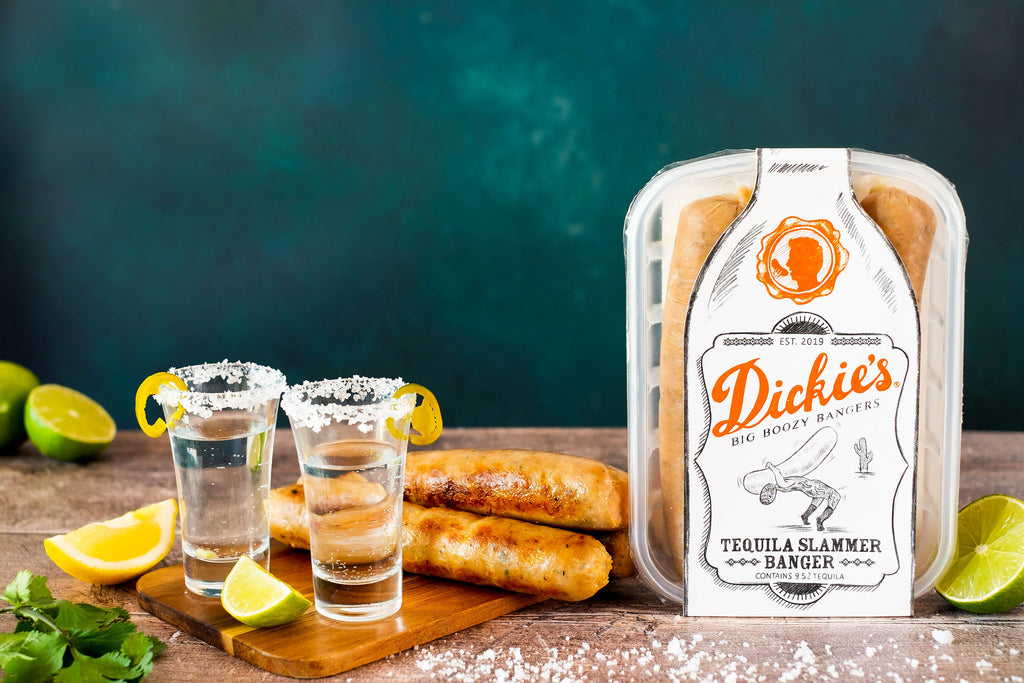 Tequila Slammer Banger Sausages Dickie's Boozy Bangers