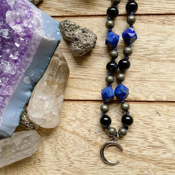 Mental Strength Crescent Moon Hand Knotted Choker (Lapis, Pyrite & Onyx)