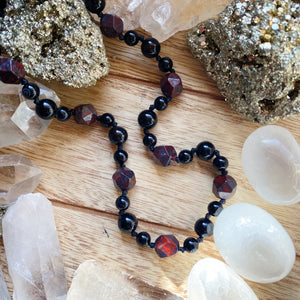 Brecciated Jasper & Onyx Hand Knotted Necklace