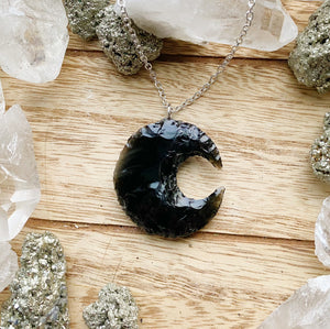 Obsidian Moon Necklace