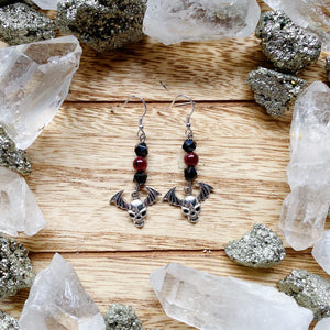 Garnet Flying Skull Earrings