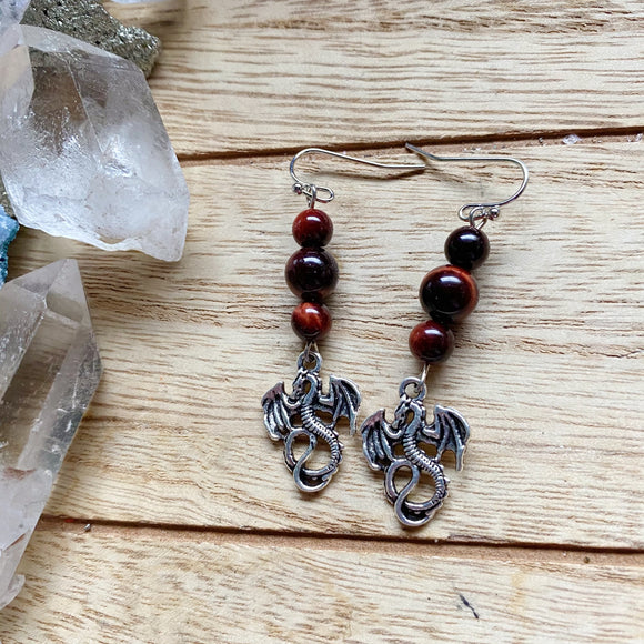Red Tigers Eye Dragon Earrings
