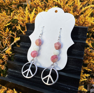 Rhodonite Peace Sign Earrings